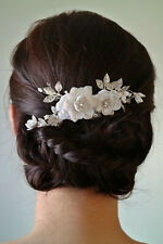 Water Lily Floral Hair Comb w. Pearls & Swarovski Crystals in Silver | Handmade