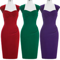 Women Vintage Retro Style 50s Housewife Wiggle Pencil Evening Party Midi Dress .