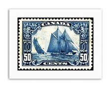 POSTAGE STAMP CANADA 50 CENTS SAILING SHIP DESIGN BLUE BOAT Poster Picture