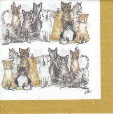 3 Lunch Papier Servietten Napkins (CIN2)  verschiedene Katzen - Cats