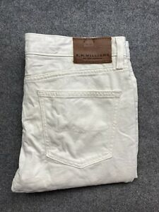 RM Williams Mens Denim Jeans Size 36 x 32 Tapered Leg Mid Rise TJ175 White