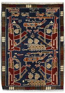11112 - Hand-Knotted Blue War rug. Afghan Traditional collectable Rug 86 x 62 cm
