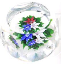 Stunning SAINT LOUIS Flower BOUQUET on Latticino MUSHROOM Art Glass PAPERWEIGHT