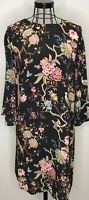 SOLD OUT! GP & J BAKER H&M PRETTY BLACK FLORAL BIRDS ORIENTAL TUNIC DRESS UK 12