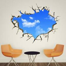3D Blue Sky White Cloud Solid Removable Ceiling Wall Sofa Background Sticker New