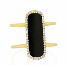 14K Solid Yellow Gold Black Onyx Genuine Diamond Ring