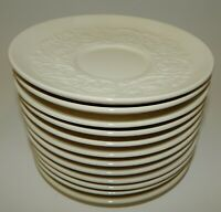 """Set of 12 Wedgwood Patrician Ivory Embossed 6"""" Saucers"""