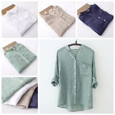 Women Sheer Thin Loose Linen Shirt Blouse Casual Beach Roll Up Sleeve V Neck New