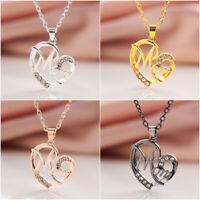 Charme Juwelen für Frauen MOM Anhänger Love Heart Kristall Rhinestone Halskette