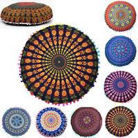 Indian Mandala Floor Pillow Case Boho Throw Cushion Cover Pouf Sham Home Decor