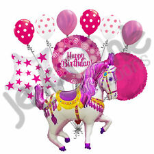 10 pc Pink Decorative Carousel Horse Balloon Bouquet Happy Birthday Carnival