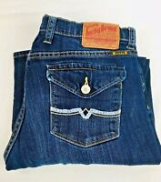 Lucky Brand Women's Petunia Sweet N Low Boot Cut Flap Pkt Blue Denim Jeans Sz 29