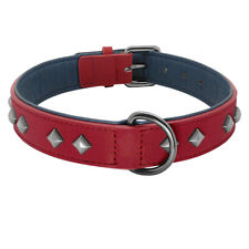 Rivet Studded Pet Dog Collar Soft Leather Collar for French Bulldog Beagle Red