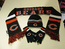 CHICAGO BEARS YOUTH SIZE STOCKING CAP, WINTER SCARF, AND GLOVES NWT