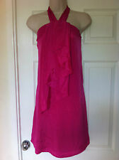 Ex-AWear Hot Pink Dress Halterneck, Fabric Front Detail, Zip Fastener, Size 8