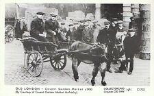 London Postcard - Old London - Covent Garden Market c1900, Donkey Cart- Ref.J326