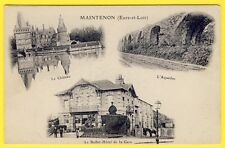 cpa 2 VOLETS 28 - MAINTENON Château Acqueduc BUFFET HÔTEL de la GARE A. MORINEAU
