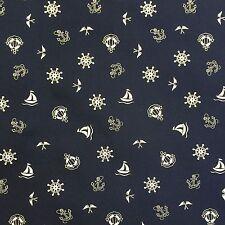 100% Cotton Superior Poplin Fabric * Nautical Ivory & Navy Design Rose & Hubble