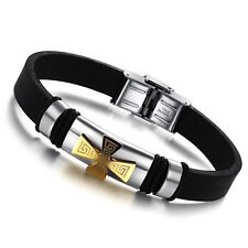 Men's Unisex Gold Stainless Steel Black Rubber Bracelet G69