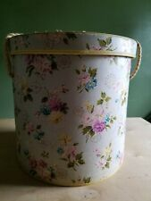 "Vtg 40's Round Sewing Basket Box Floral Print Fabric Cover 11 1/2"" Tall"