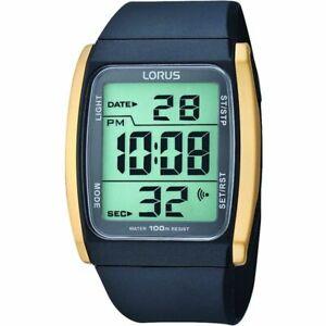 Lorus Digital Dial Black Resin Strap Unisex Watch R2302HX9