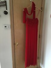 Women's Red Long Gown with Scarf Large, NICE