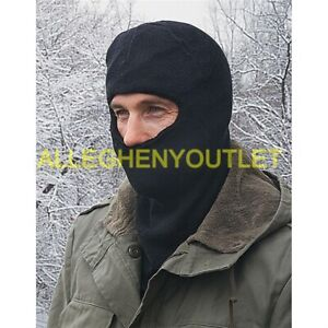 US Military Wool Blend Cold Weather Balaclava Hood Face Mask Black EXC