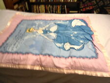 CINDERELLA PRINCESS BABY QUILT WITH PINK SATIN BINDING QUILTED W DISNEY CASTLE