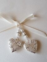 Double Wedding Bouquet Filigree Silver Heart Locket charm ivory pearls gift bag