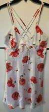 Woolworths Womens Nightie Chemise Poppies On White Size 12
