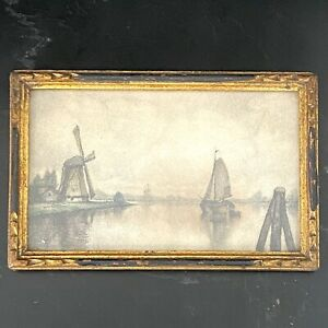 Small Antique Dutch Drawing of Windmill and Sailboat