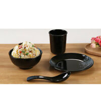 Set of 4 Dinner Plate Dish Spoon Bowl Service Soup Salad Dish Home Black 3