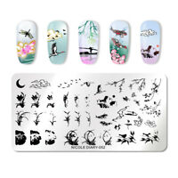 NICOLE DIARY Nagel Schablone Moon Reed Lotus Nail Art Stamp Image Plate 052