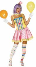 Womens Spots & Stripes Clown Fancy Dress Costume Circus Carnival Ladies Outfit