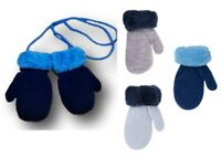 Baby Boy Toddler Winter Warm Mittens Gloves With String Fun Fur Size 3-12 Months