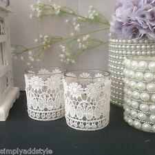 Set of Two Fabric Lace Covered Tea Light Holders -Wedding Decor Shabby Chic