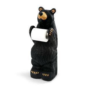 Little Johnny Bear Midnight Black 21 x 5 Resin Stone Toiler Paper Holder