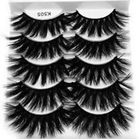 5 Pairs 3D Mink Hair False Eyelashes Long Thick Fluffy Wispy Eye Lashes Makeup