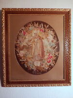 Tapisserie religieuse ancienne Saint Claude XIX 19 siecle tissus textile