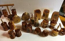 Vintage lot 10 Wood Cabin Adirondack Rustic Salt Pepper Shakers Unique Souvenir