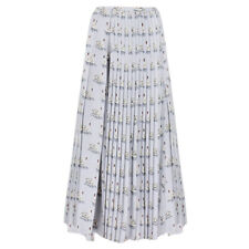 Stella McCartney Pale Grey Swan Print Plisse Pleated Silk Skirt IT42 UK10