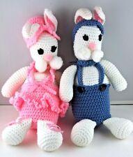 Easter Bunny Rabbit Mr & Mrs OOAK Folk Art Hand Made Crochet Plastic Bottles VTG