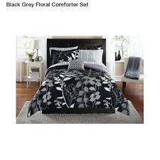 Black Grey Floral Queen Size Comforter Set Bedding Bedspread Sheets Bed In a Bag