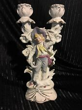 German Bisque Candlestick Figurine Boy & Dog (G-Dep 8616) Carl Schneider Antique