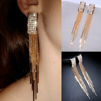 Boho Women Gold Geometric Crystal Tassel Drop Dangle Stud Earrings Jewelry Gift