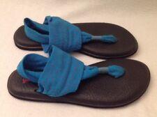 SANUK Sling 2 Turquoise Fucshia Chevron Yoga Mat Sz 8 Thong Flip Flop Sandals