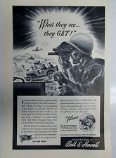 VINTAGE 1943 WWII CHRISTMAS ORIGINAL PRINT LITHO AD BELL & HOWELL WAR SCENE FILM