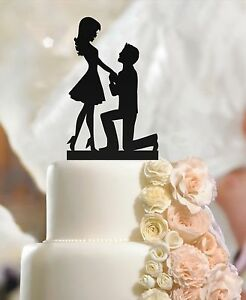 Fiance & Fiancee in Man on Knee Wedding Engagement Cake Toppers