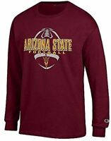 Arizona State Sun Devils Maroon Football Long Sleeve Tee Shirt by Champion