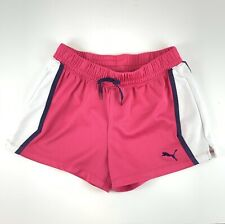 Puma Youth Girls Size Large (10-12) Pull On Shorts Pink and White Mesh Blue Trim